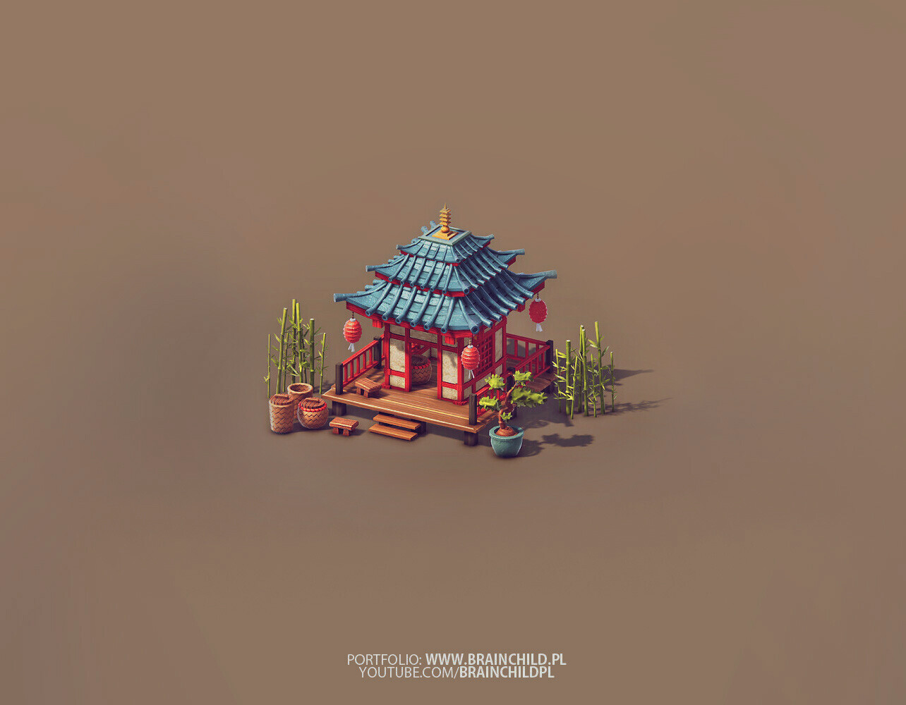 Low Poly Game art, 3d Low Poly Buildings, 3d Game Buildings, Lowpoly 3d Art