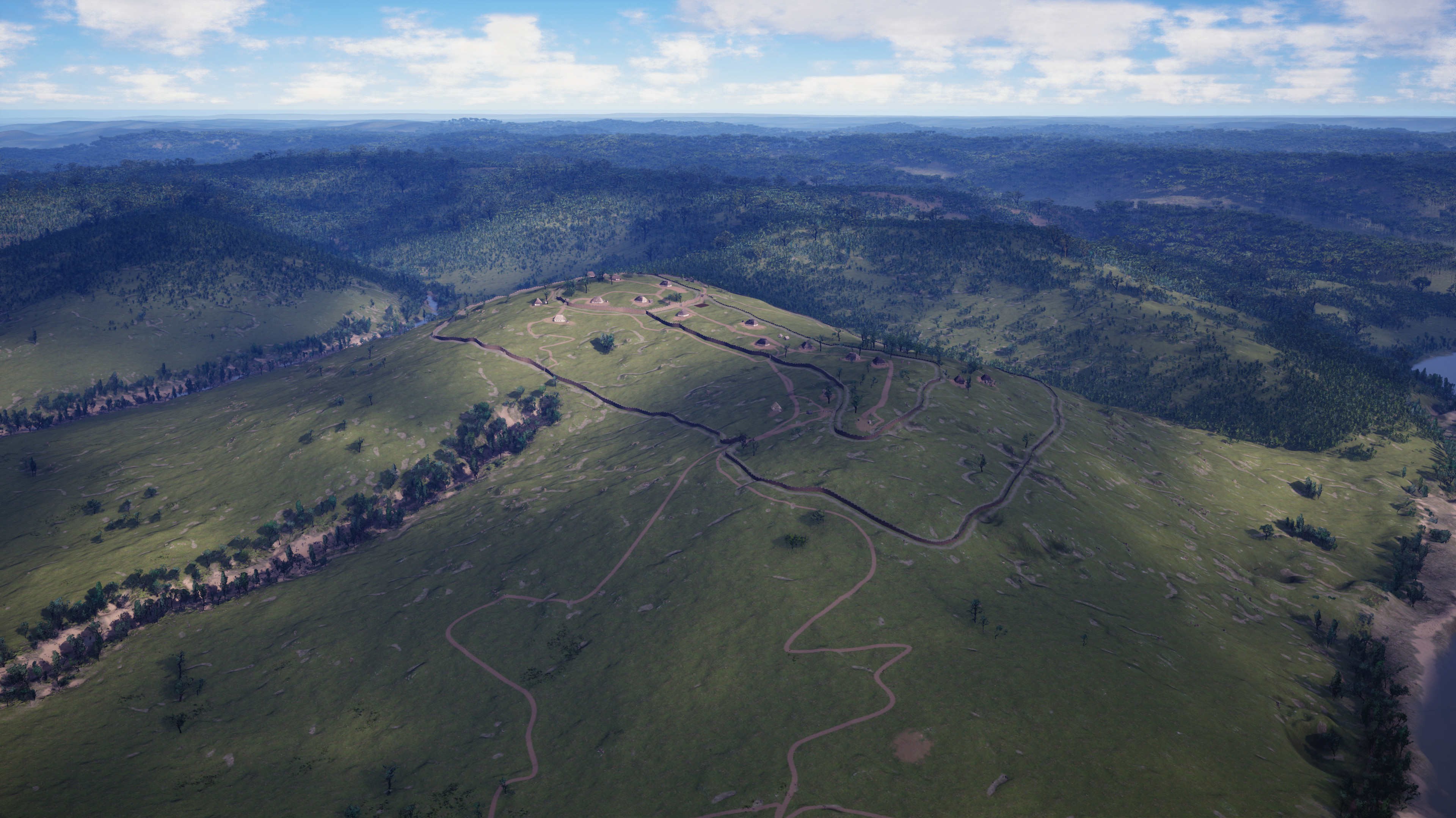 An Aerial View of the Heiligenberg. The roads and walls were placed using my own custom made blueprints. In addition to snapping meshes to the terrain, these tools deform the landscape and control the distribution of materials and foliage.