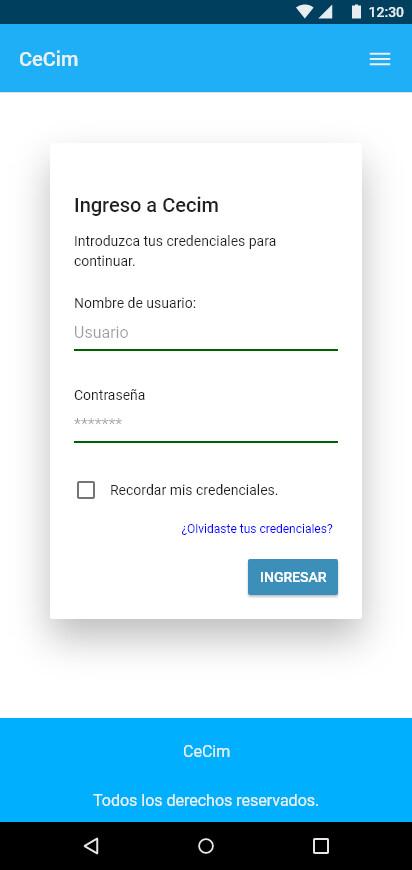 Vista login móvil