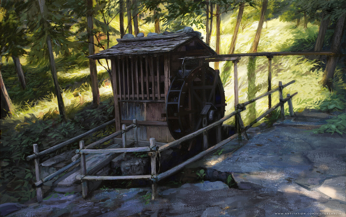 Background Japanese Watermill