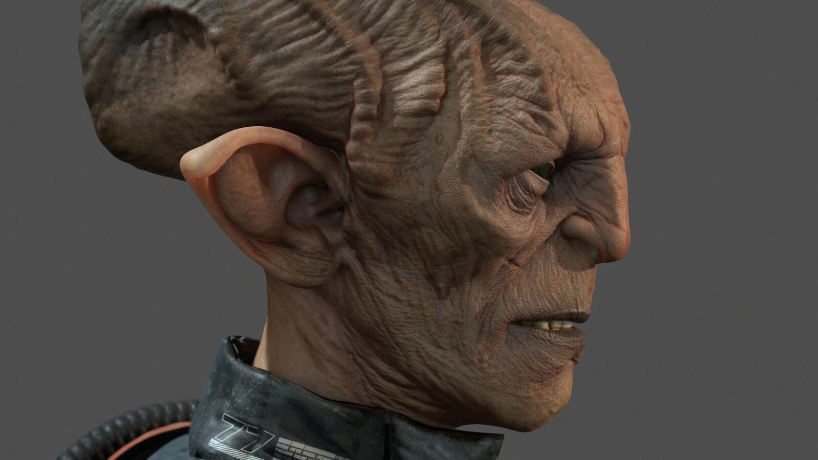 real-time render - head closeup 2