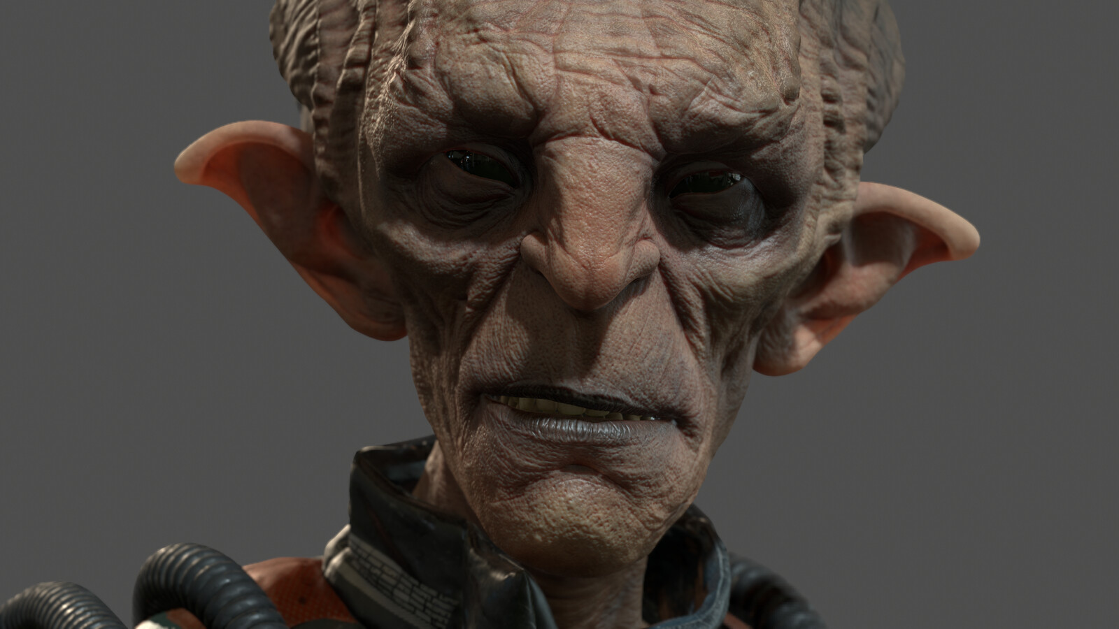real-time render - head closeup