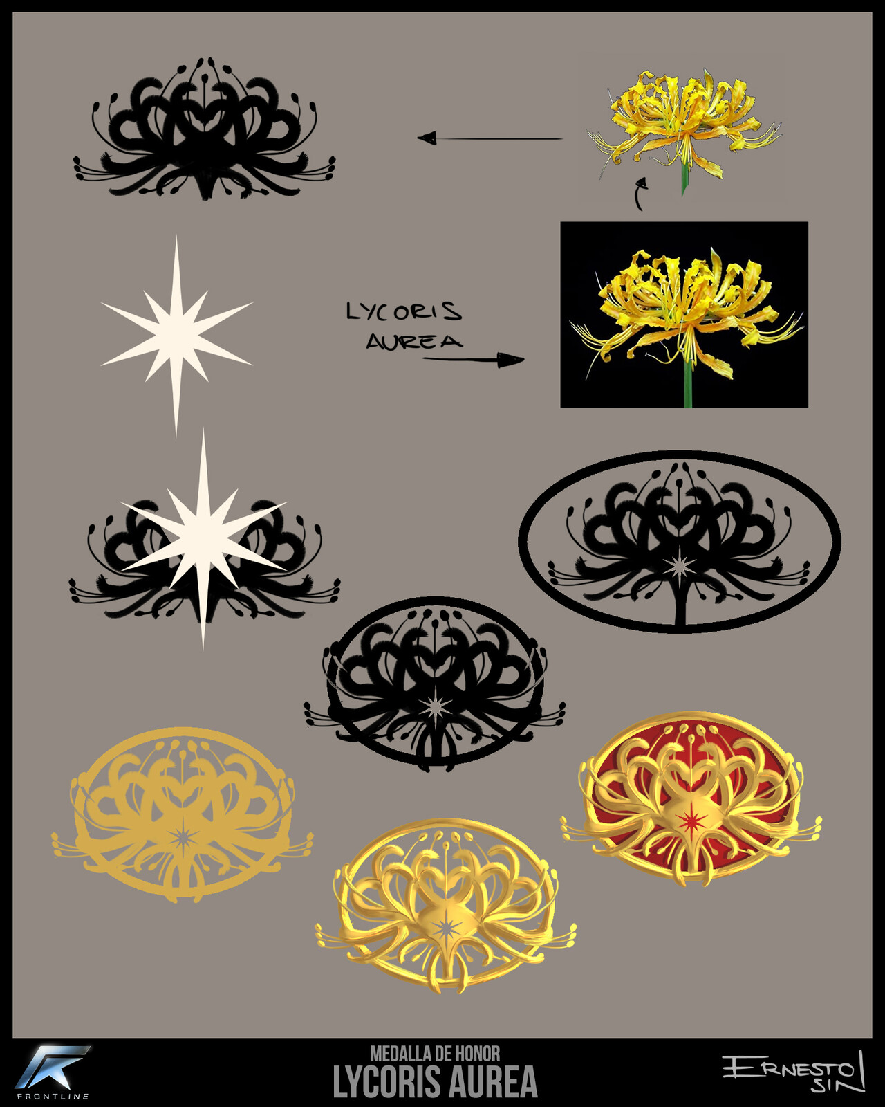 Design for the Lycoris Aurea (Yellow Spider Lily) medal of honor.