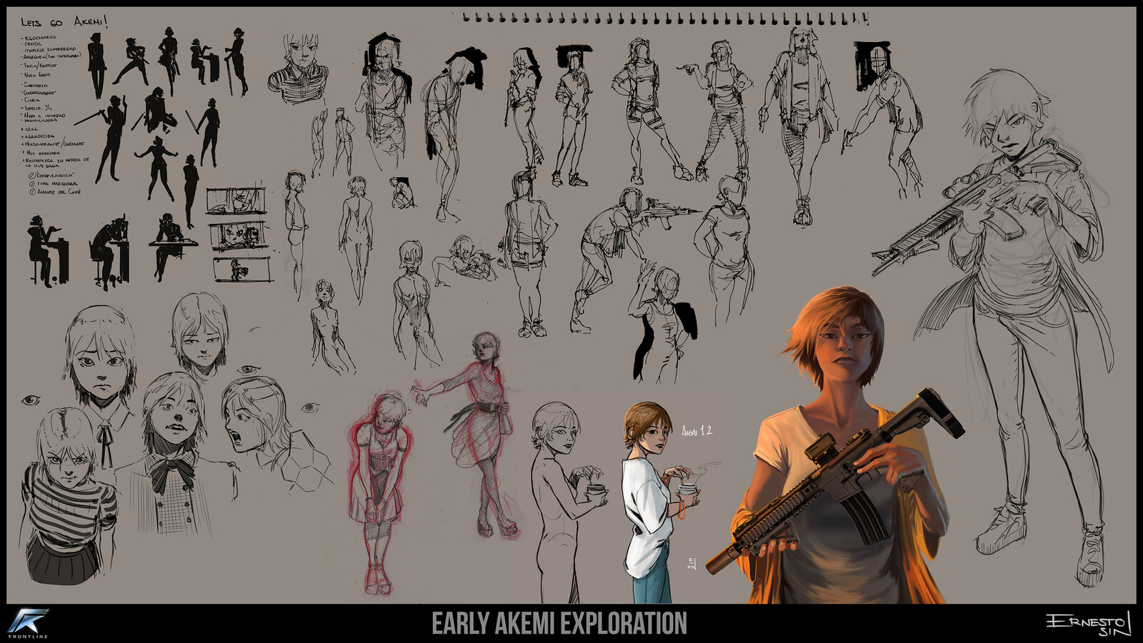 many sketches and early exploration.
