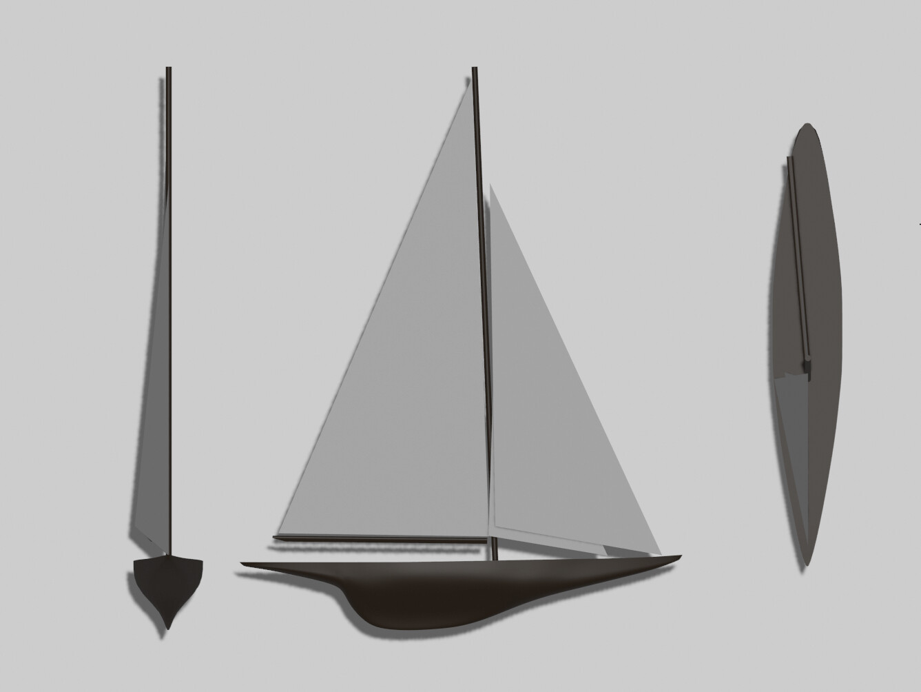 I modeled the boats after a J-class racing yacht called 'Ranger' that won the America's cup in 1937 not far from RISD in Newport.
