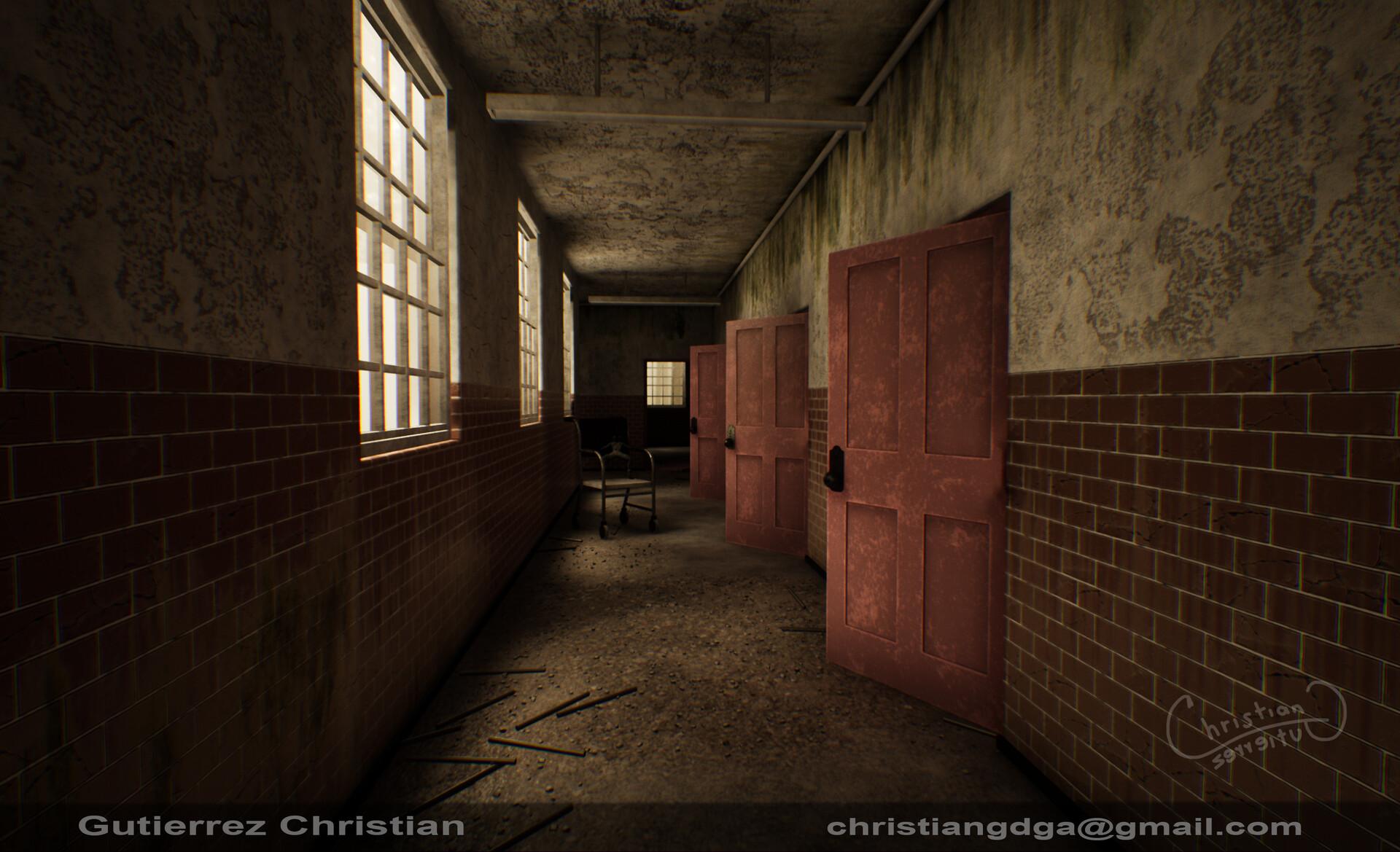Artstation Creepy Abandoned Asylum Hallway Christian Gutierrez