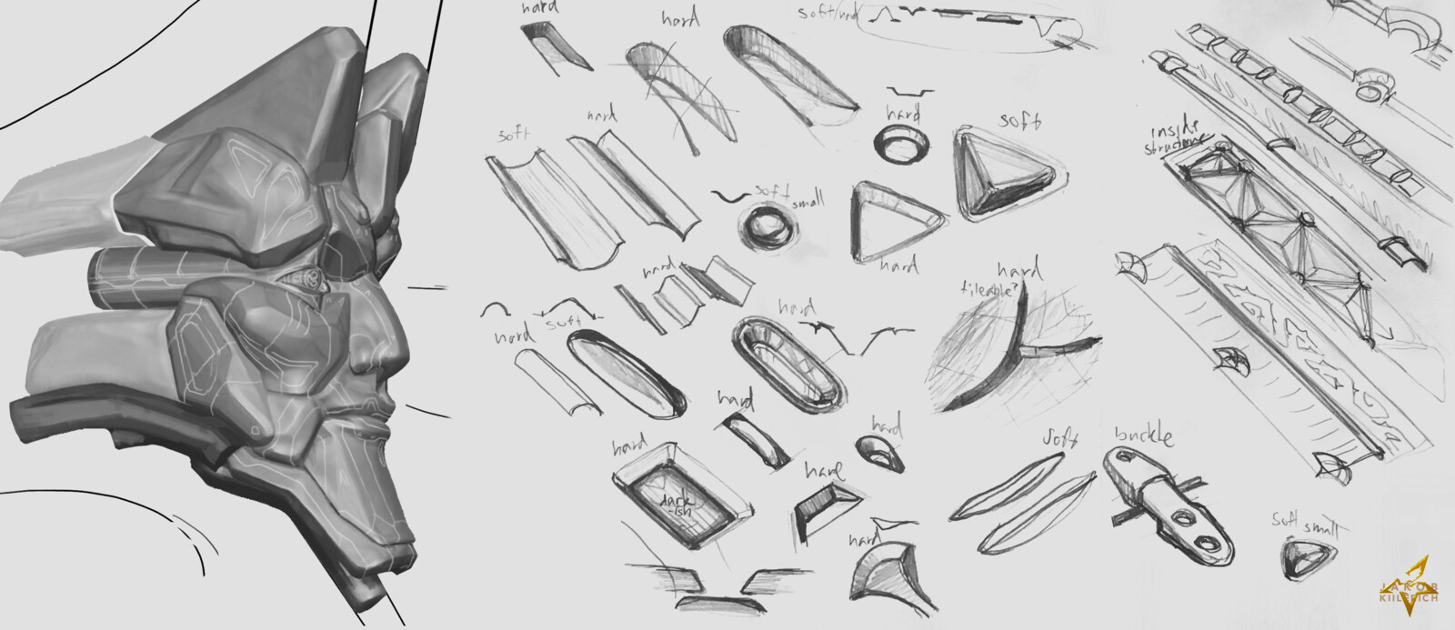 Decal sketches. Many weren't put to use on the final surface,