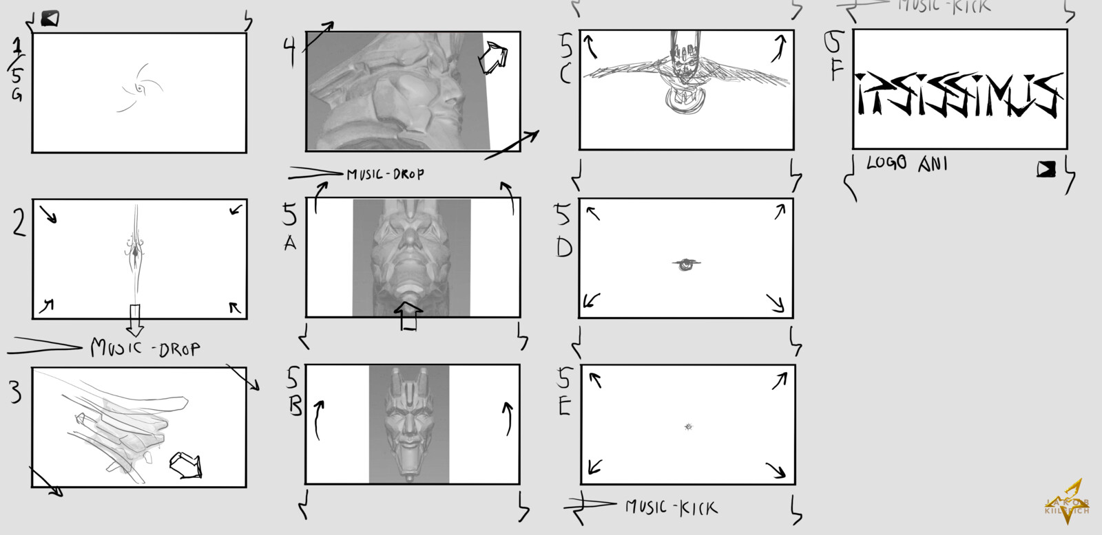 Early storyboard / initial idea with early sculpt renders.