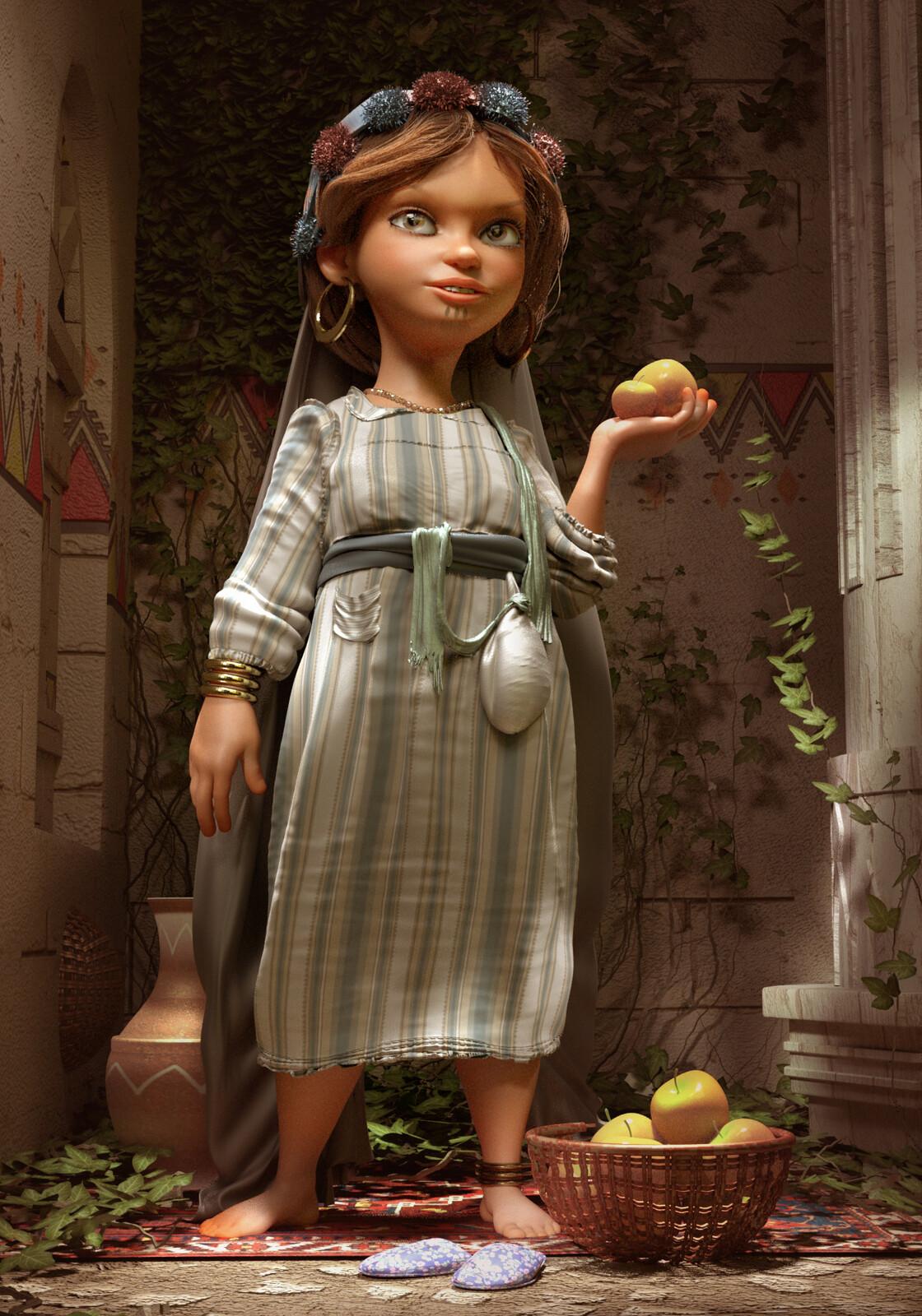 Egyptian Girl Selling Apples