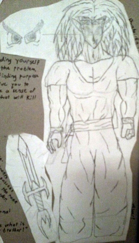 Old concept drawing of a bulky Yenen in his traditional gi-based garb