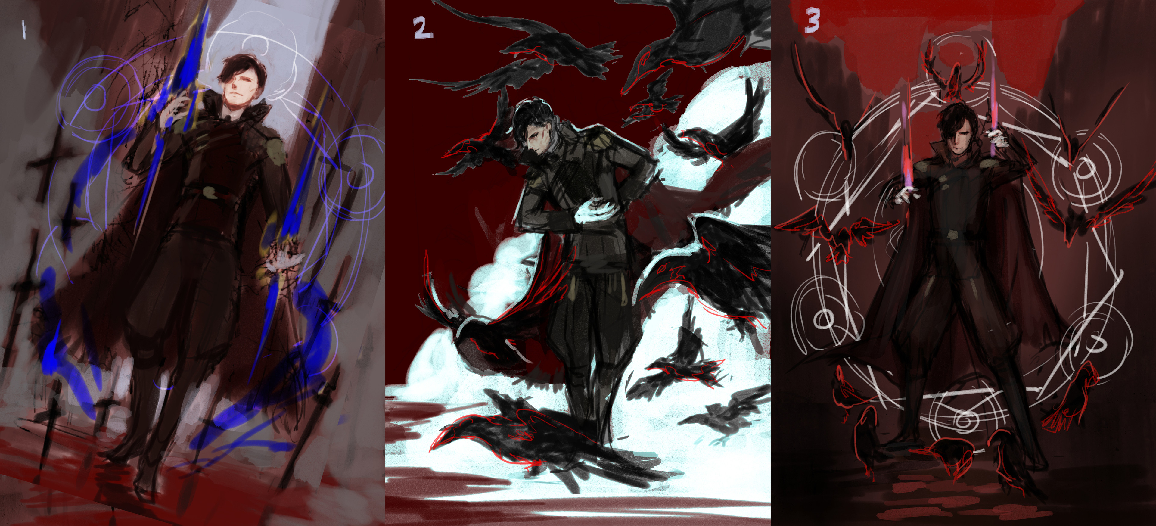 Composition sketches. Final Image is a variation of 2 because I wanted something more dynamic. It was between knives and crows to represent the card value