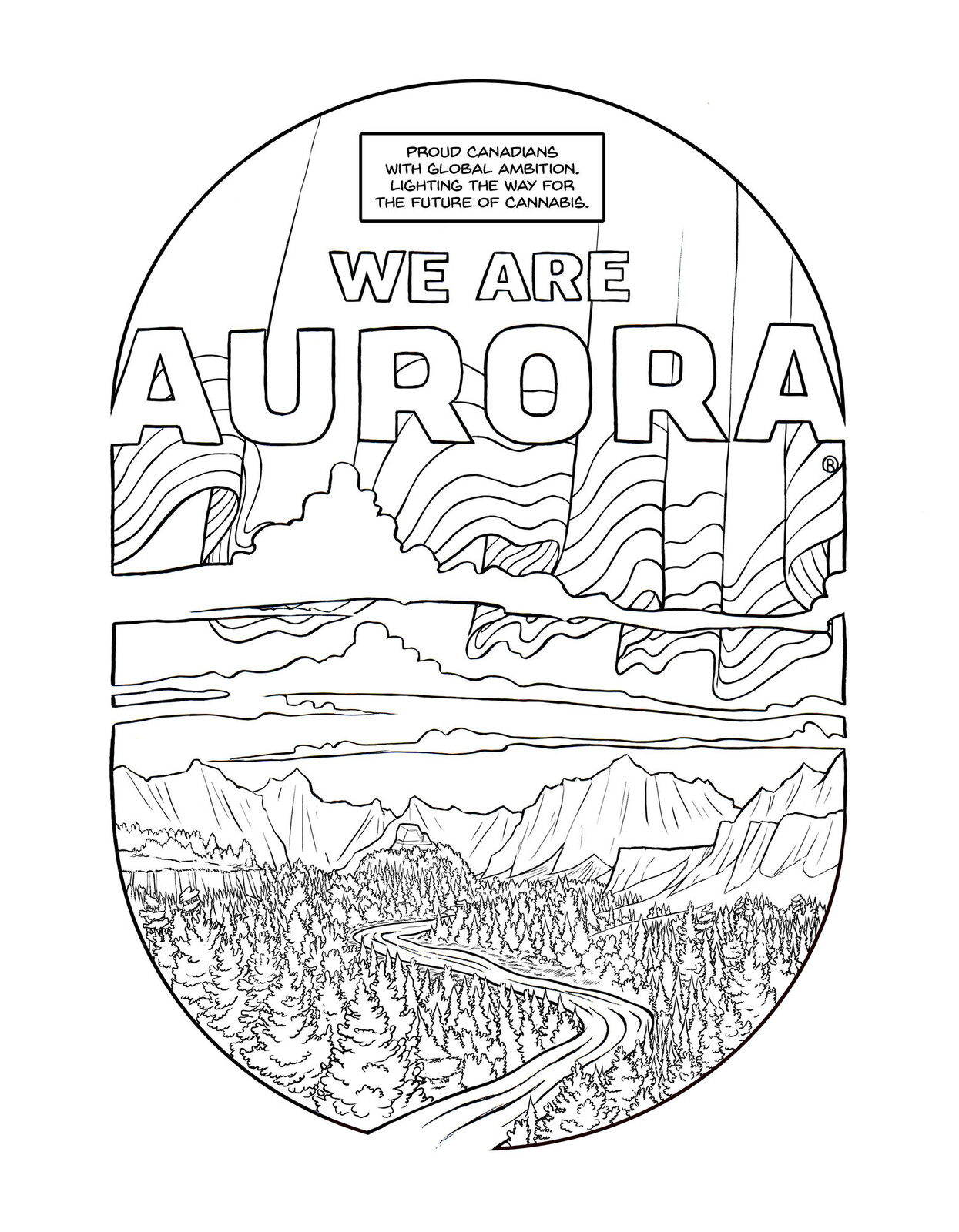 Pages from an in house coloring book commissioned by Aurora Cannabis, a medical and recreational legal grower in Canada.