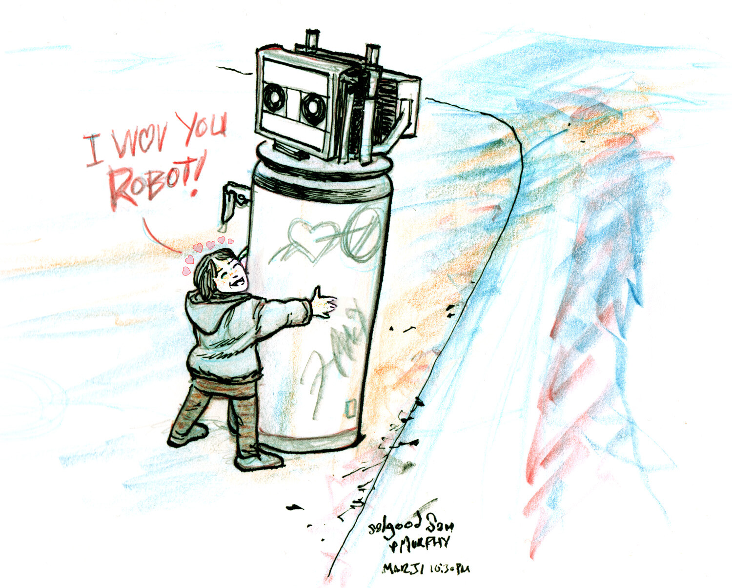 I wove you robot, inspired by a viral YouTube clip. Personal work.