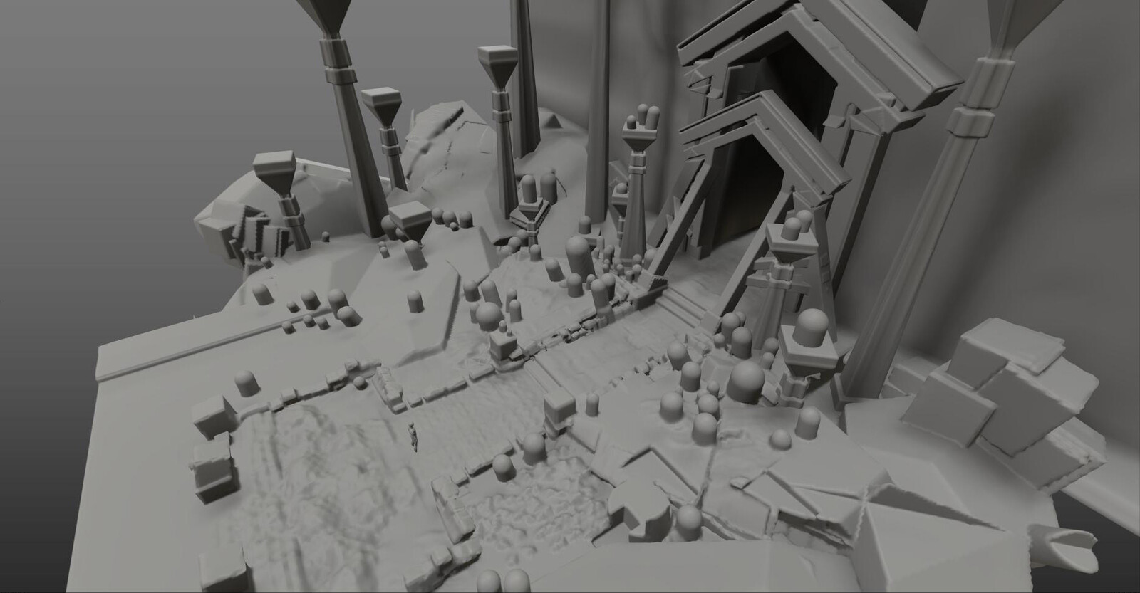 The set was initially blocked out in 3DCoat then drawn over/