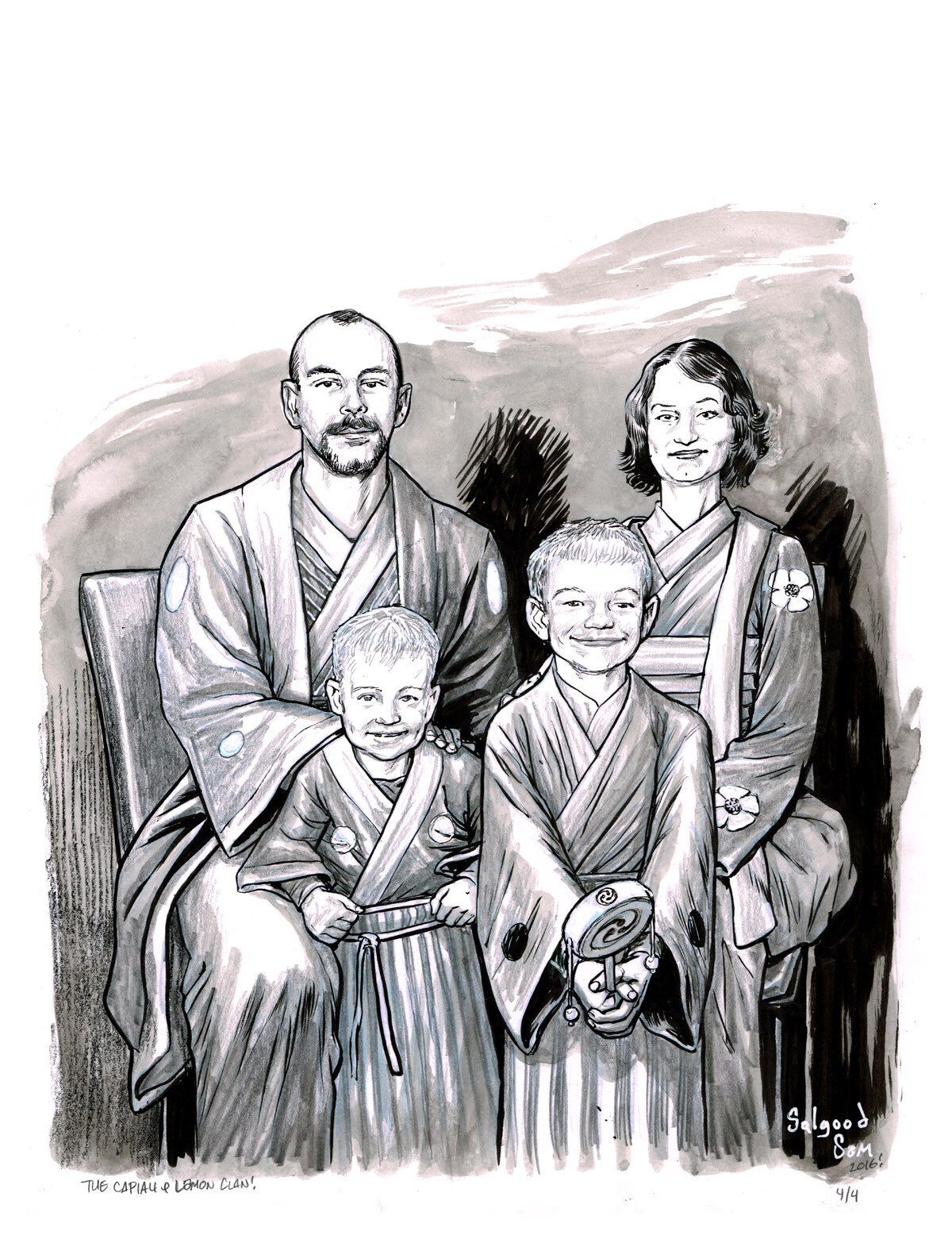 Family portrait commission in ink and wash.