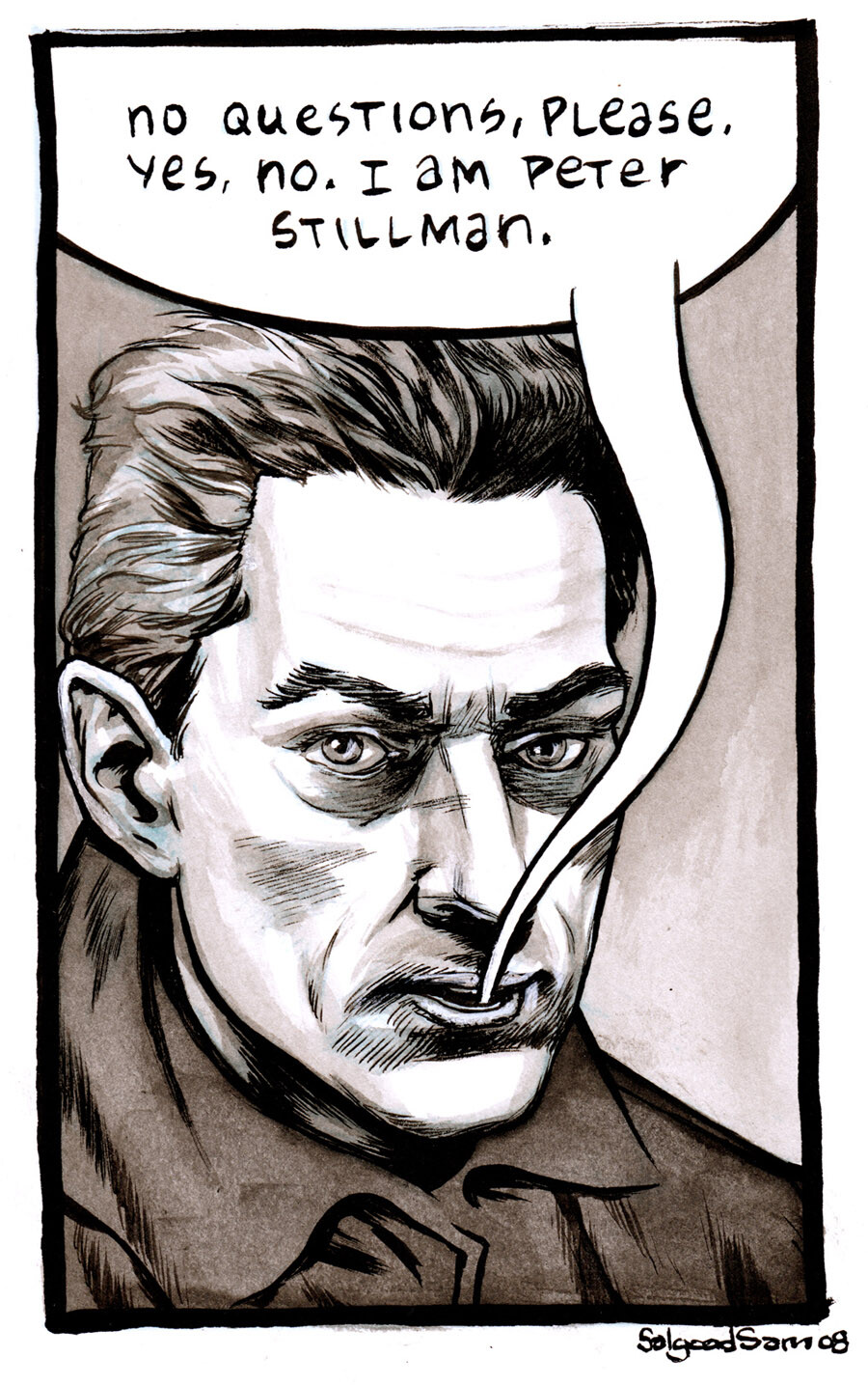 Paul Auster as Peter Stillman from City of Glass. Ink and wash.