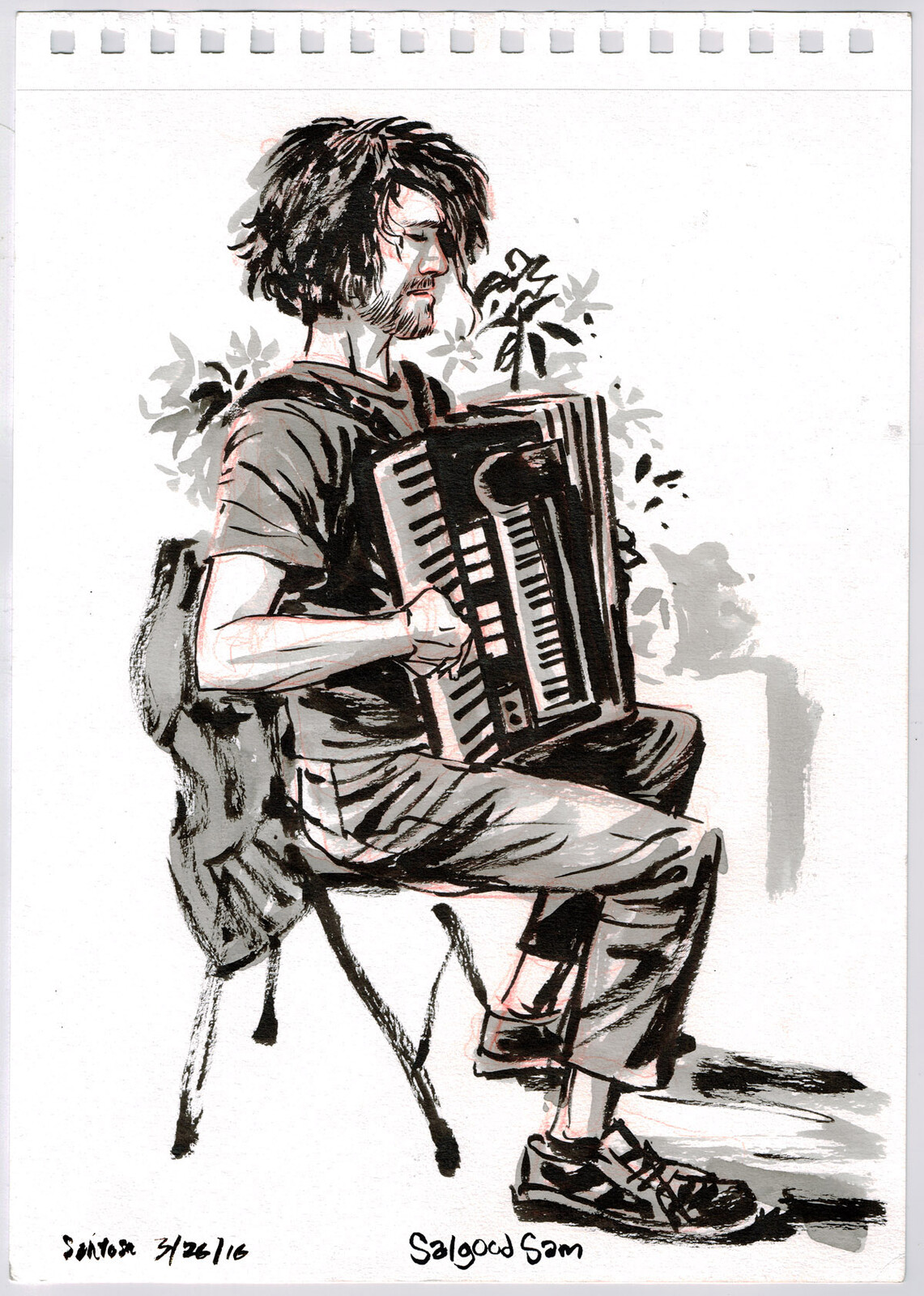 Santosh Lalonde in ink and wash.