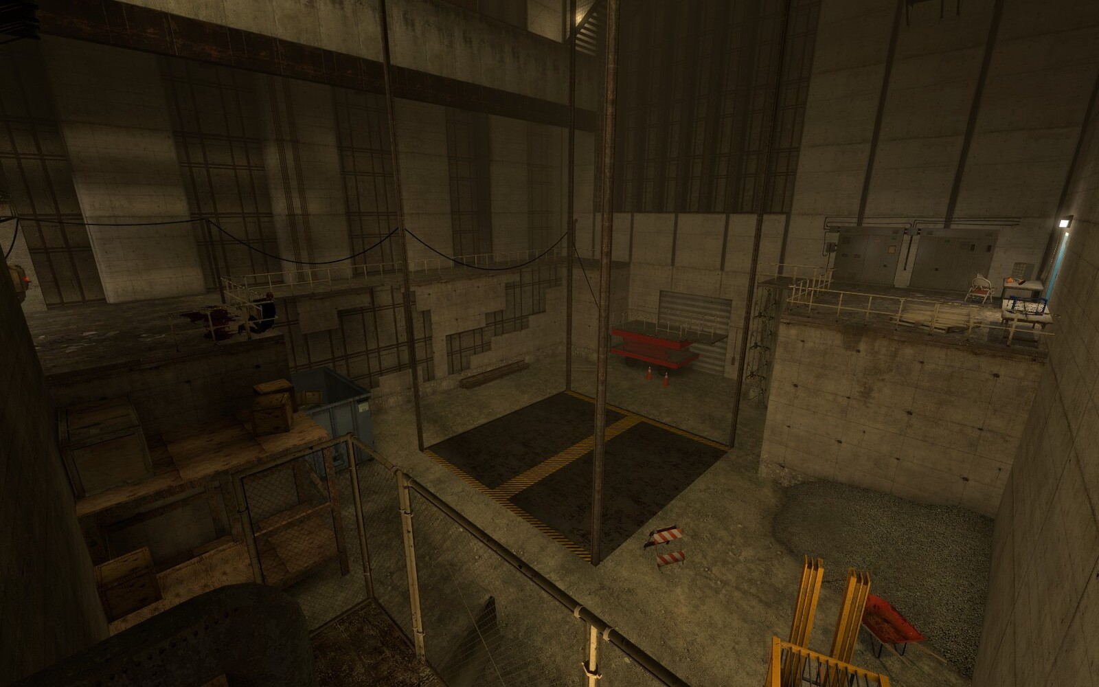 The bottom section of the 2nd chamber contains a scissor lift obstruction. An easy one to beat but an interesting one for the player.