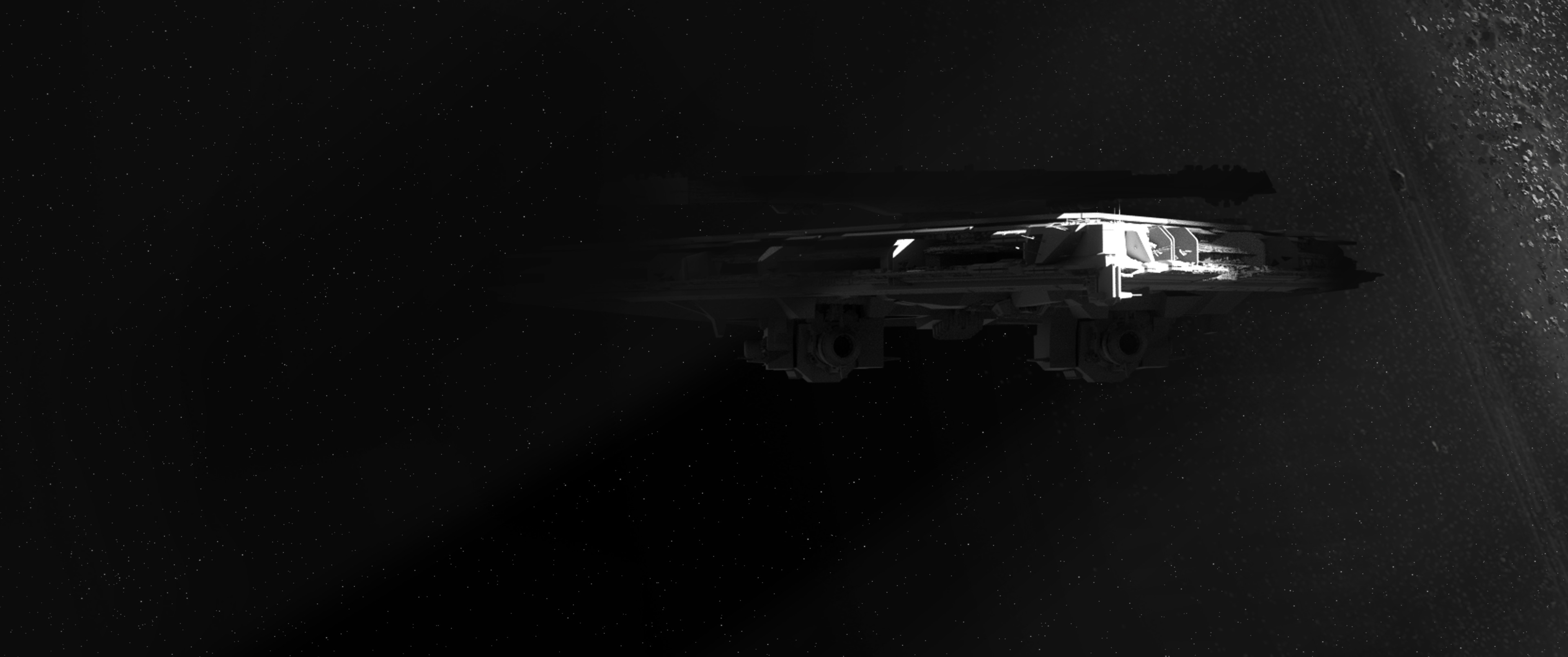 Proposition of shot to reveal the new first order destroyer. Coming out of the shadow of an asteroid belt.