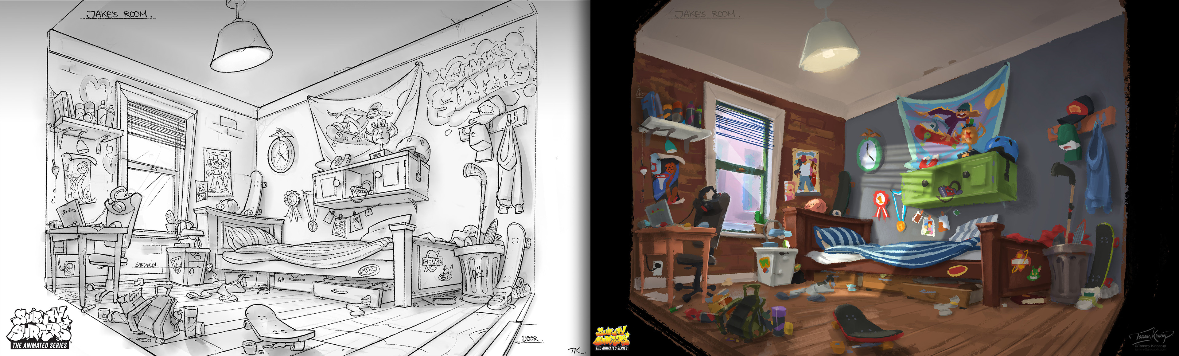 Int. Jake's room - design sketch to color