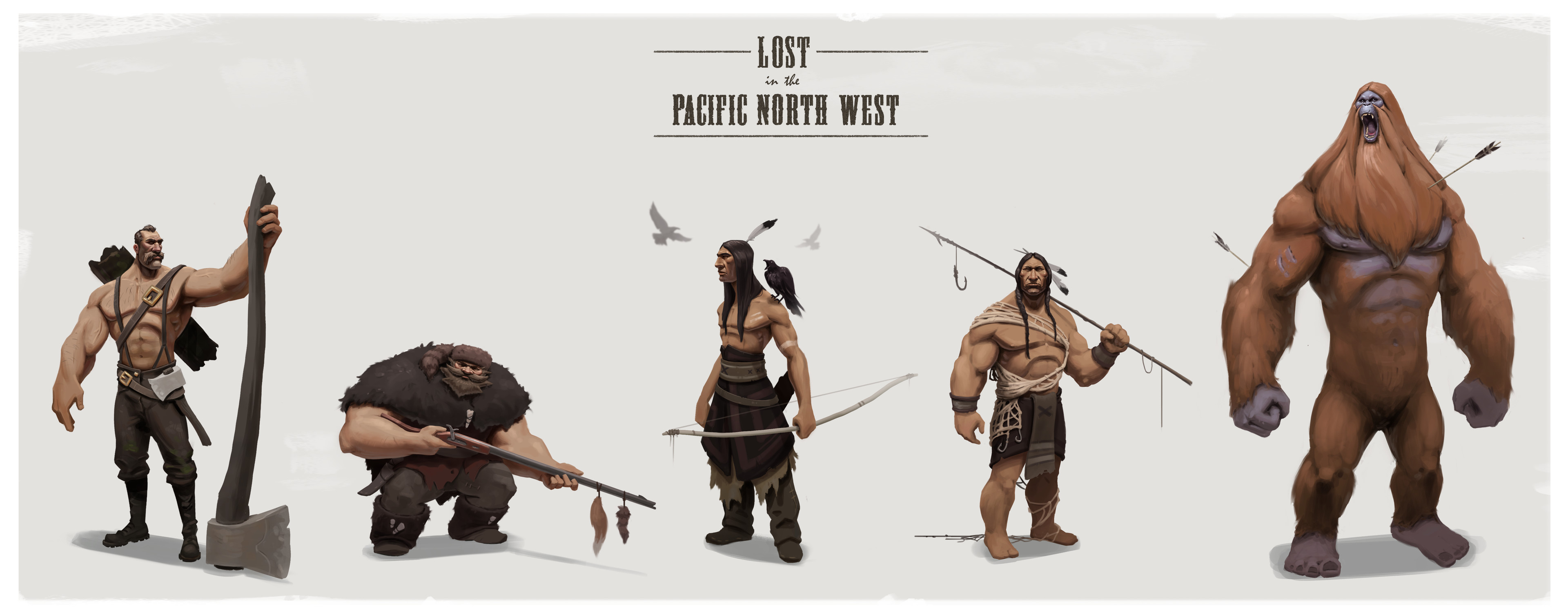 Character line up for a personal project titled Lost in the Pacific North West