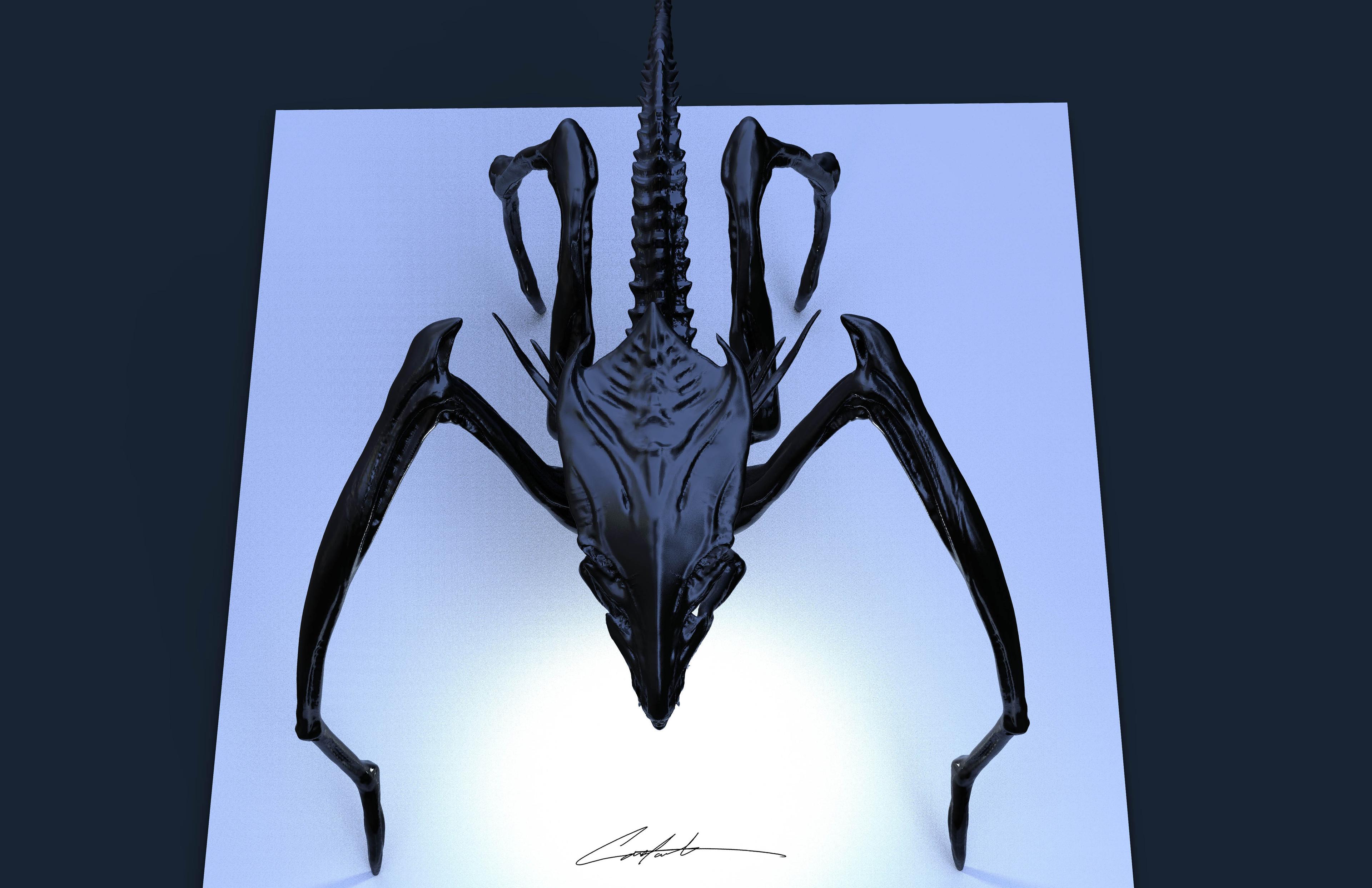AvP Alien Queen updated from 2001 sketch
