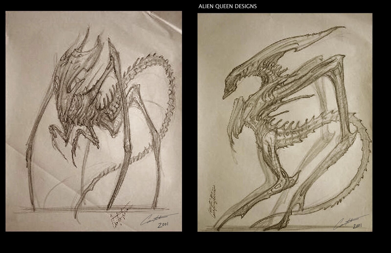 AvP Alien Queen designs sketch i did back in 2001 at EdgeFX