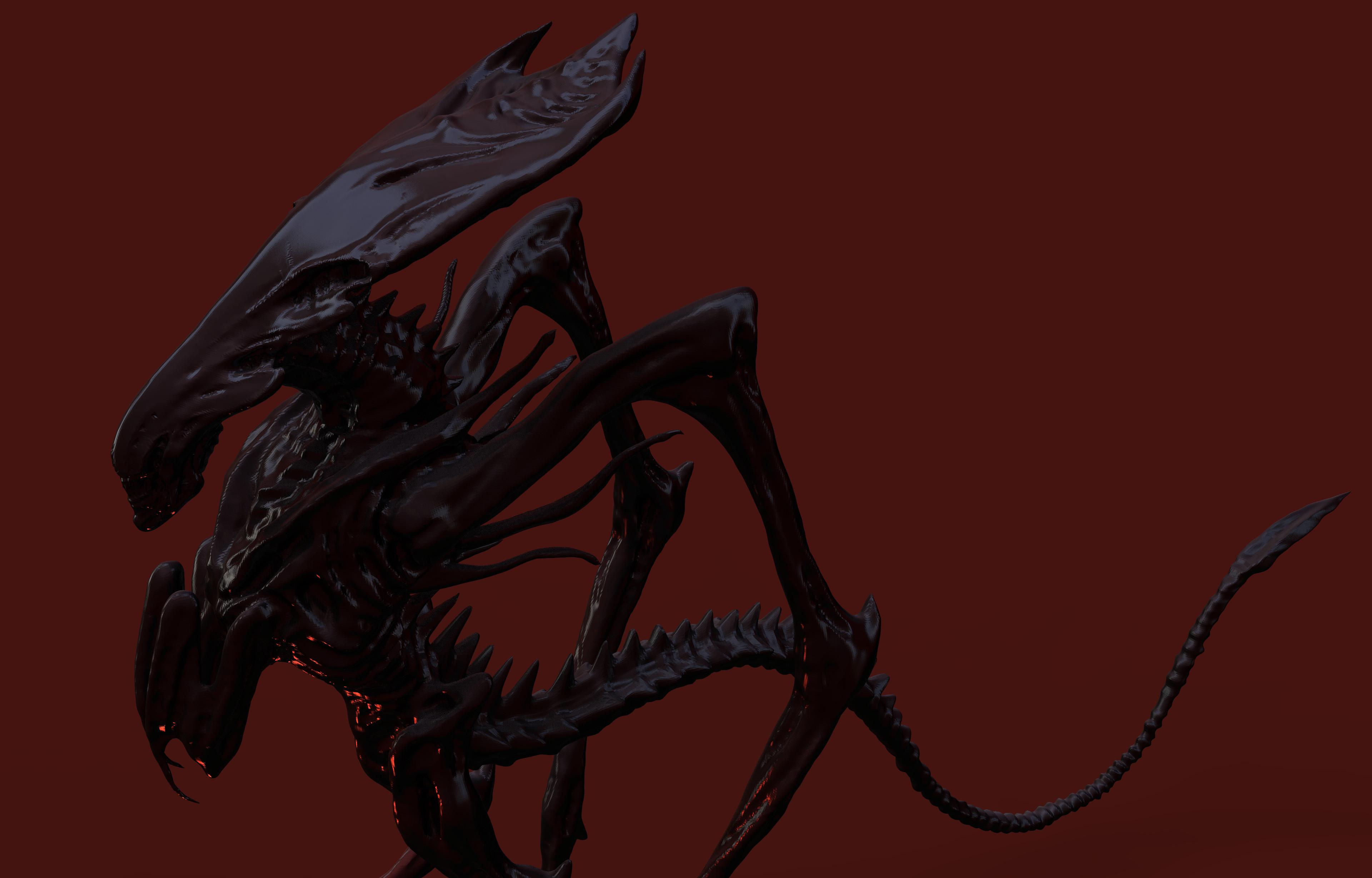 AvP Alien Queen early design sketch 2001 updated to 3D