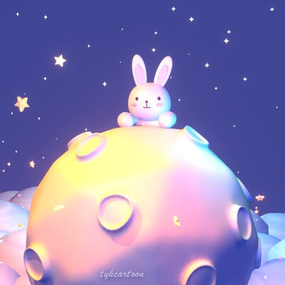 Judy kao dribbble bunny and moon 0917ss