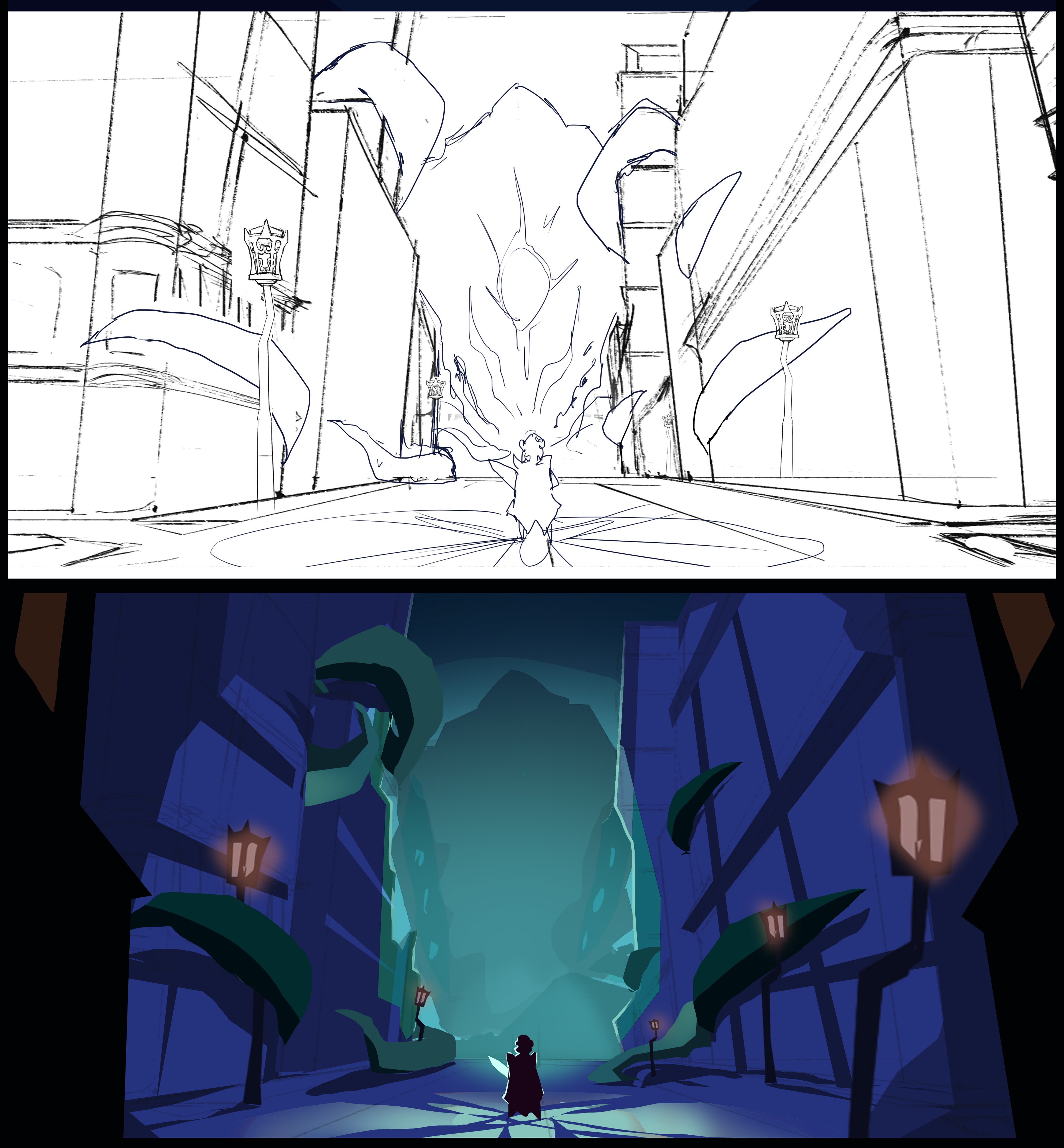 Initial sketch and colours