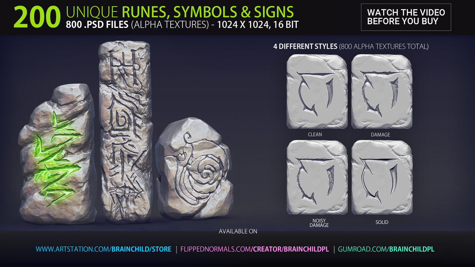 ----------  Download https://artstn.co/m/baRk ---------- VOL. 2 - 200 Runes, Signs & Symbols (800 Alpha Textures) Alpha Pack | Alpha Textures | Alpha Maps | Alpha Brushes | Alphas | Zbrush, Blender, Substance