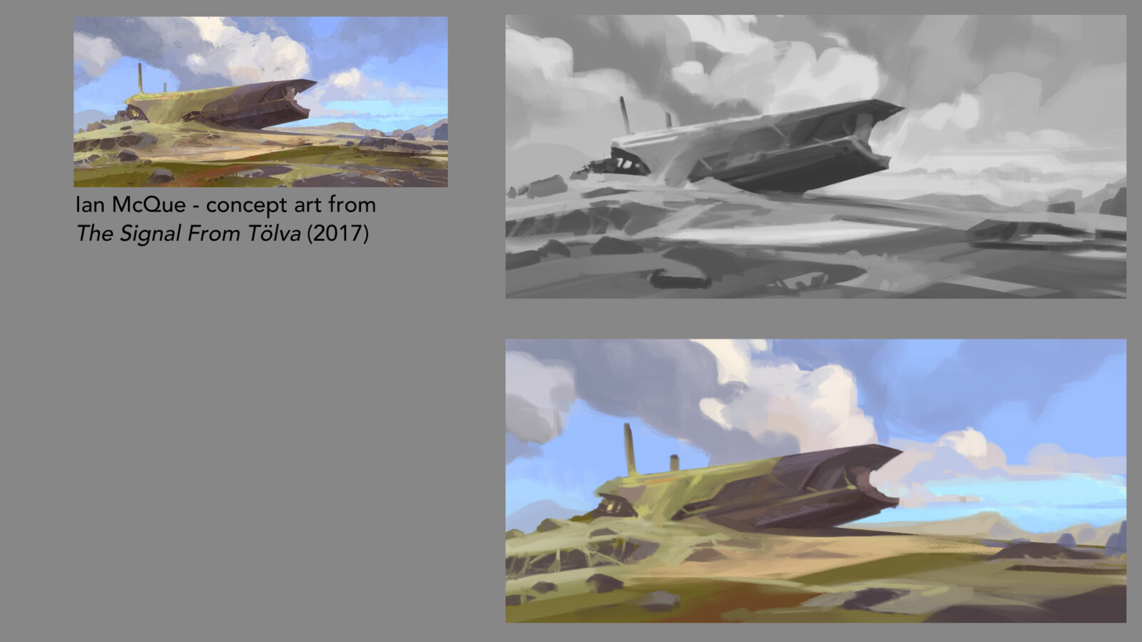 Grayscale/color study of concept art from The Signal From Tölva (2017) by Ian McQue