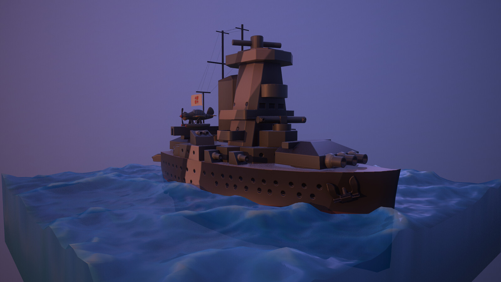 Even in the early evening the pocket battleship needs to patrol
