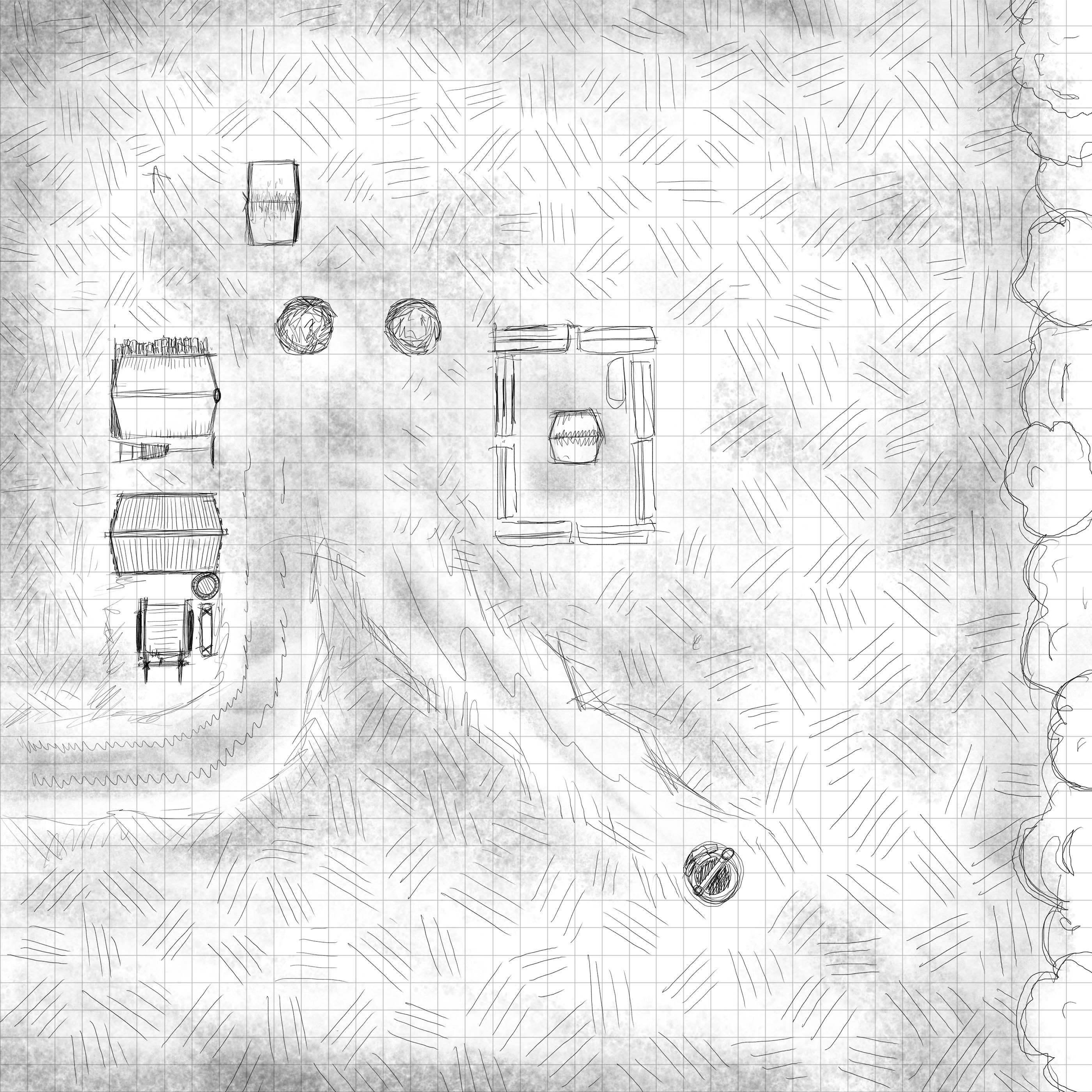 Initial Sketch for the farm based off a tabletop display