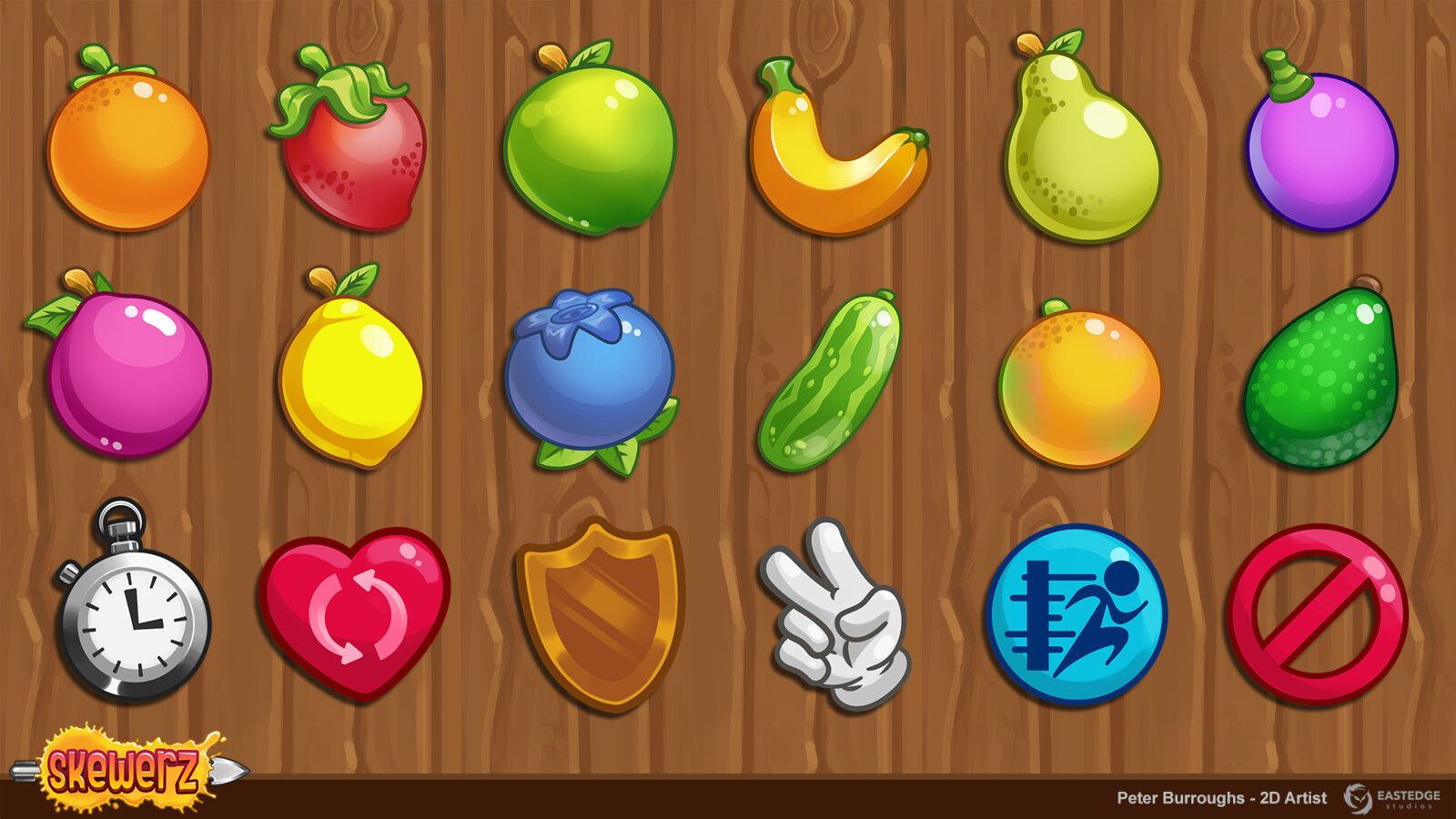 Fruits and powerups to collect throughout the game