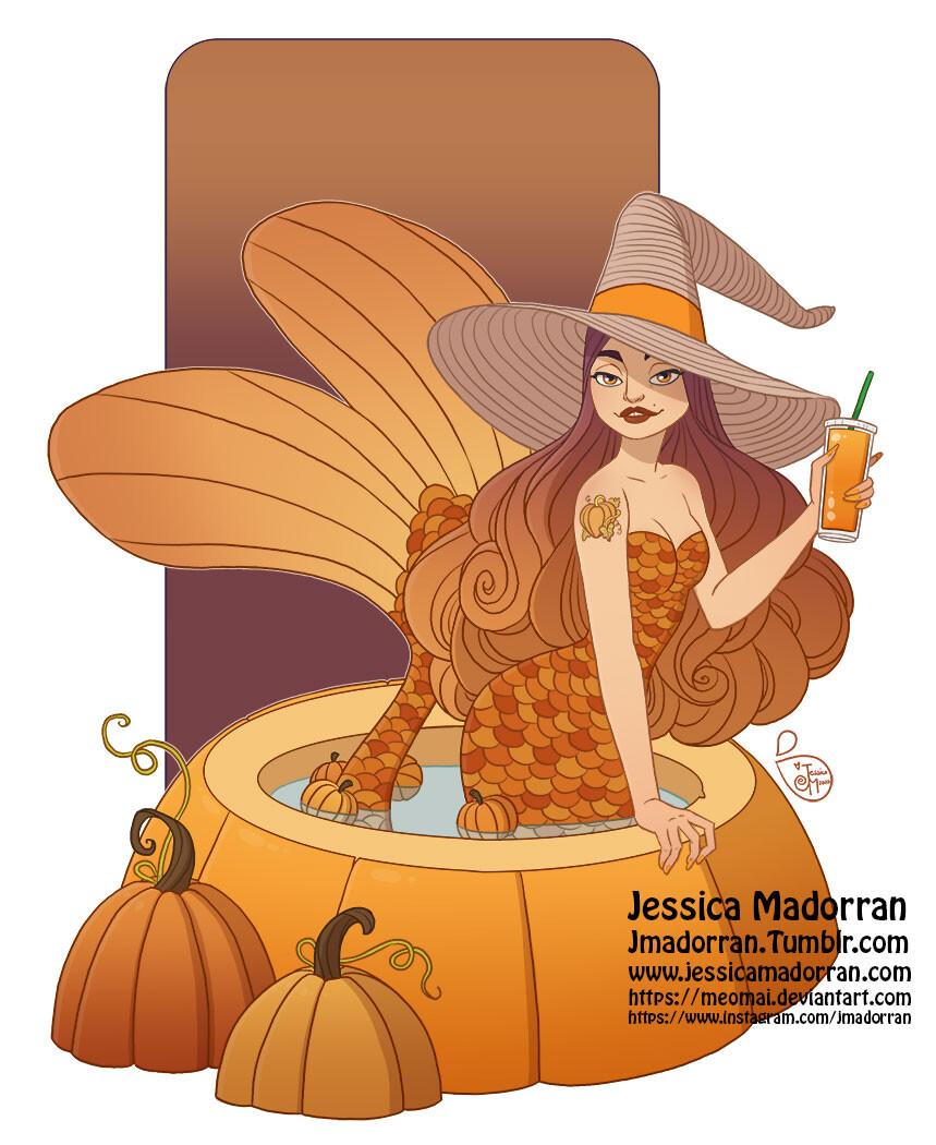 Character Design - Pumpkin Spice Mermaid
