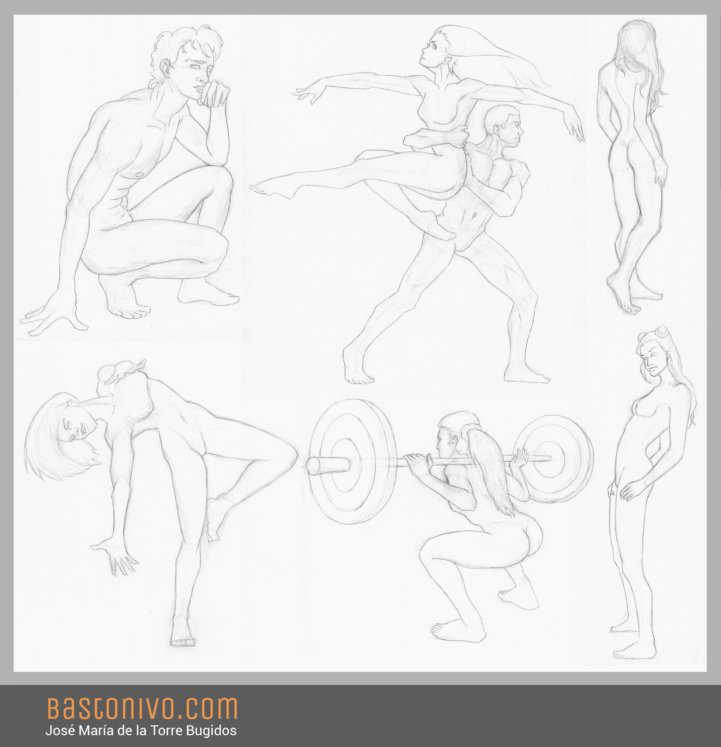 Anatomy and poses study. Traditional, pencil.