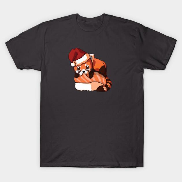 You can find the prints on teepublic. https://www.teepublic.com/t-shirt/2052156-red-panda-salmon-sushi-christmas?store_id=125261
