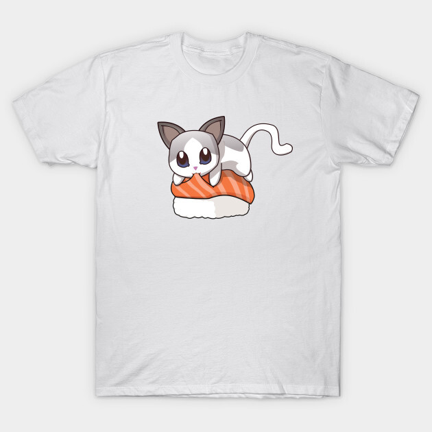 You can find the prints on teepublic. https://www.teepublic.com/t-shirt/1824066-white-cat-salmon-sushi?store_id=125261