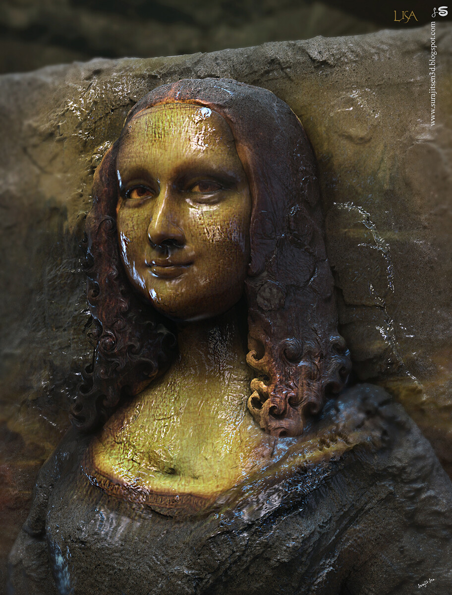 """One of my Digital Sculptures... I tried to make a sculpted form of my thoughts.... #monalisa.I applied Rough strokes...patches to bring the look and feel. Note- my apology for trying to make 3d Sculpture form of Da Vinci's greatest creation """"Monalisa"""". Ba"""