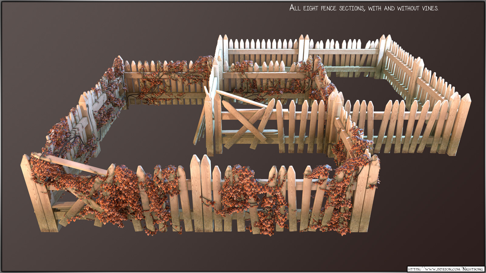A Marmoset Toolbag render of all fence sections.