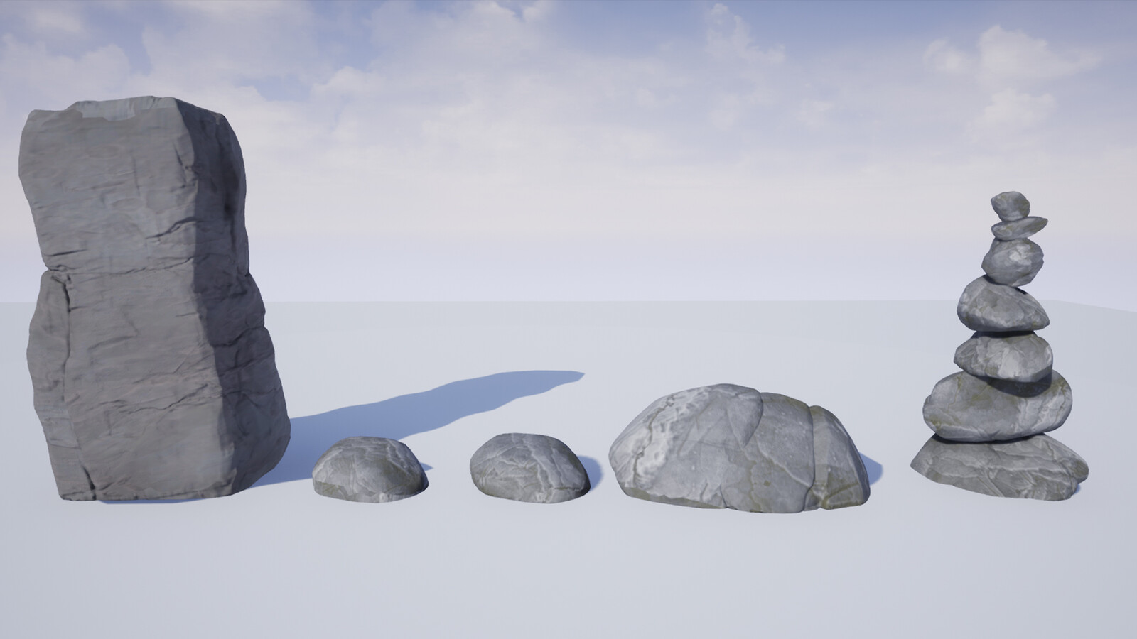 Sebastian Flores created the rock models and I combined them with a tiling rock material. So rocks only need a baked and combined normal + ao, and then the tiling material does the rest of the work.
