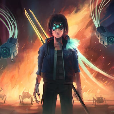 Rainer cs cyberpunk 2077 illustration contest set it on fire
