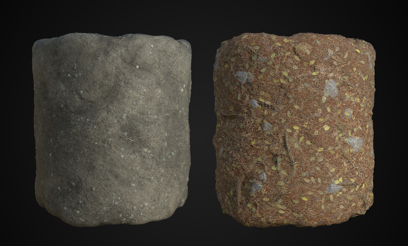 Landscape materials made in substance designer. These were the primary textures used in this scene.