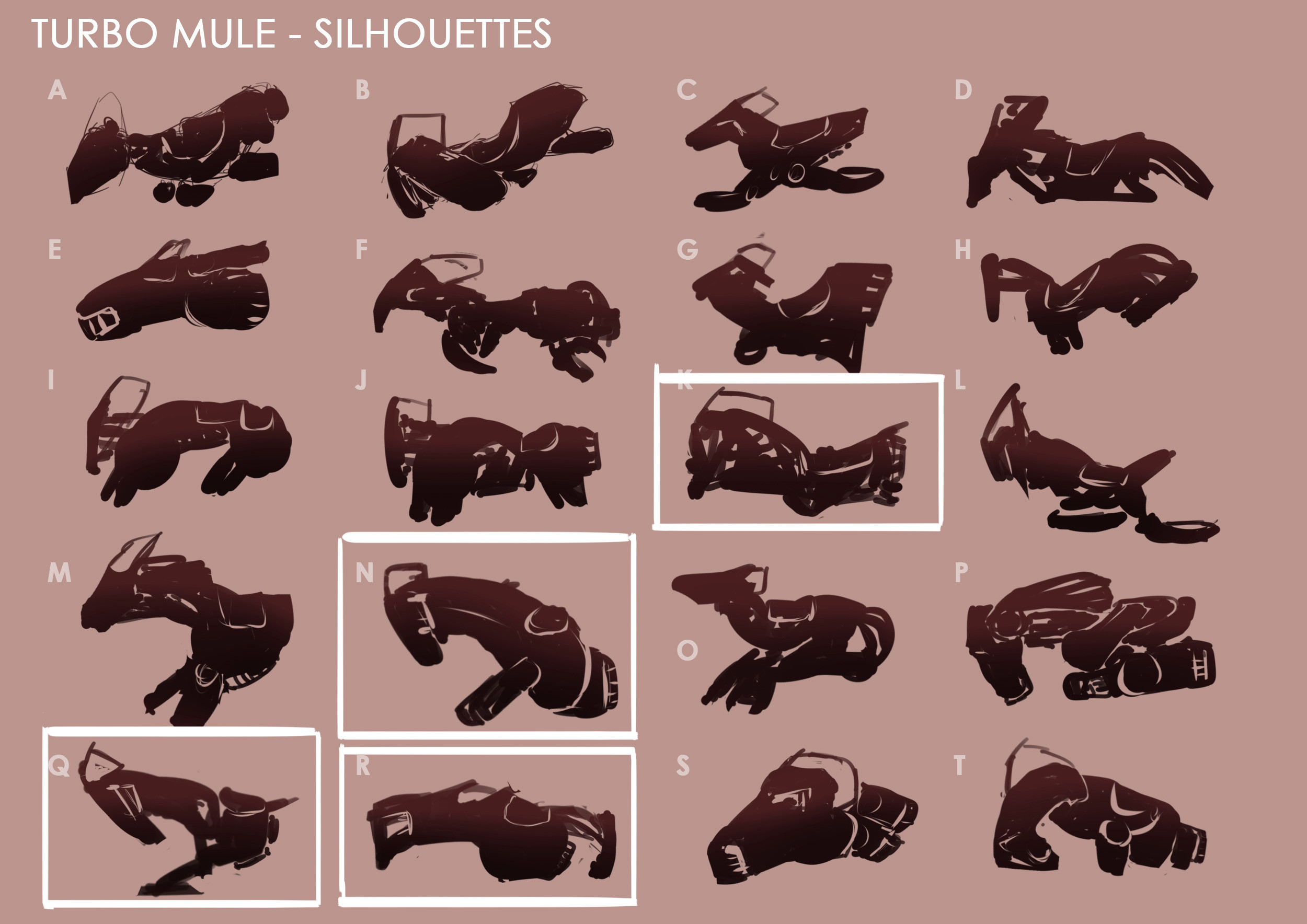 Silhouette exploration based on jumping/running horse shape