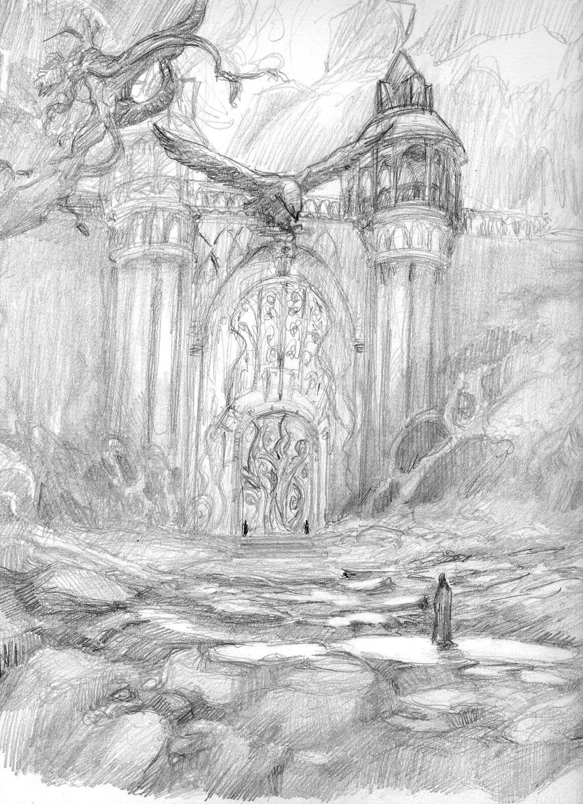 Gondolin iron gate pencil sketch1
