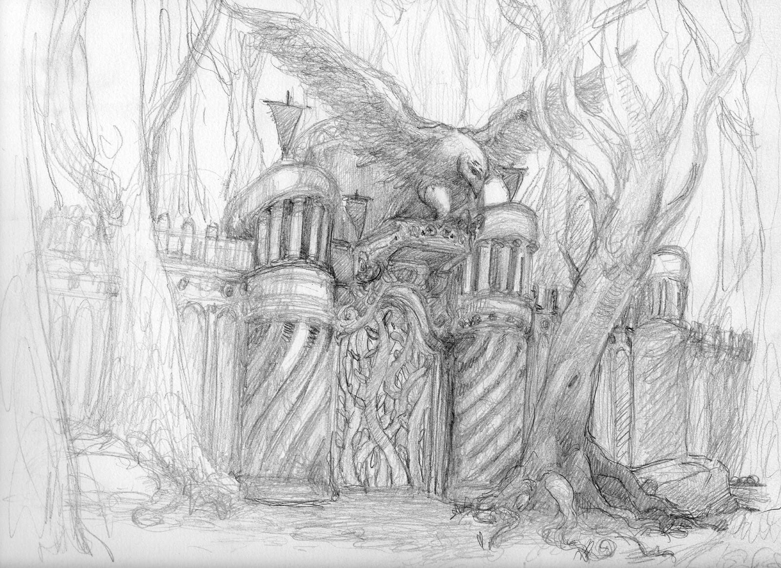 Gondolin Iron Gate pencil sketch 2