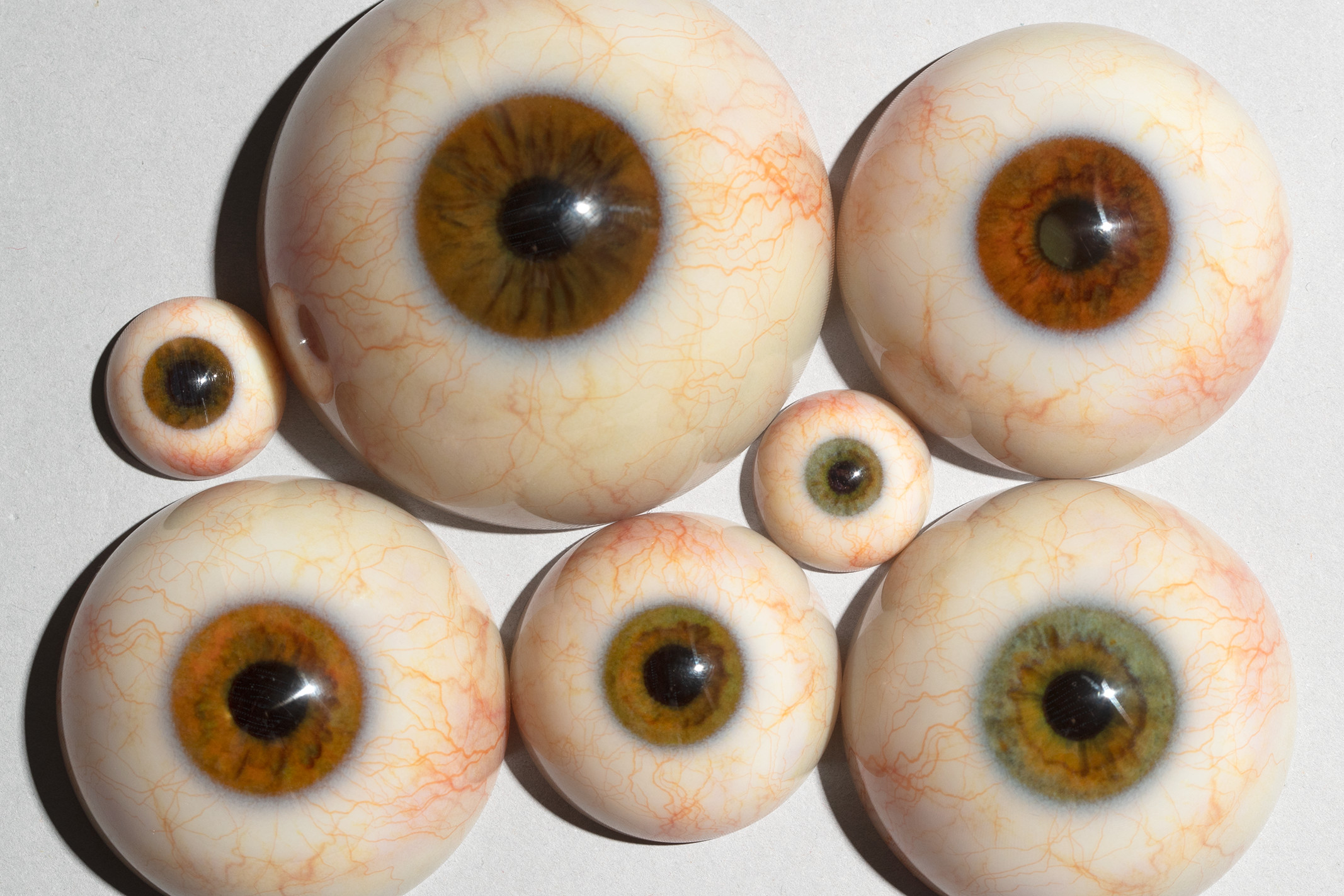 A small collection of some of the eyes developed for Weta Workshop's large-scale hyper-realistic figures.