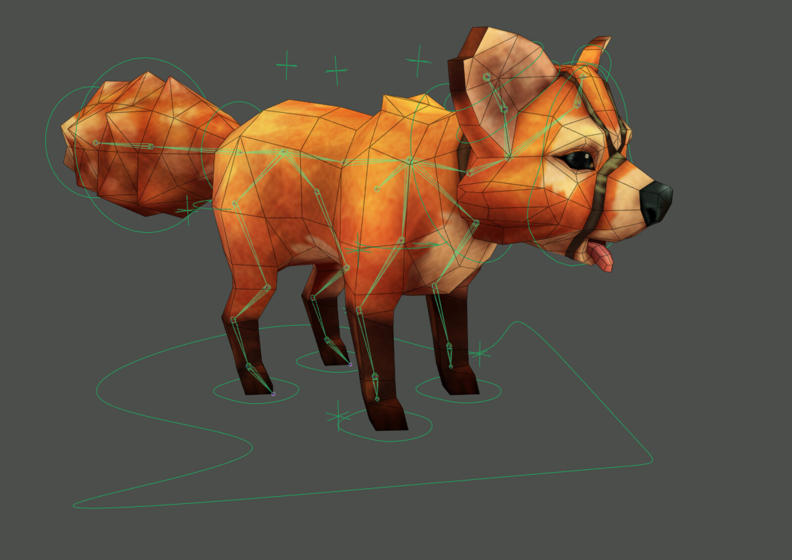 fox - 1150 tris - 512x512 color - 28 bones