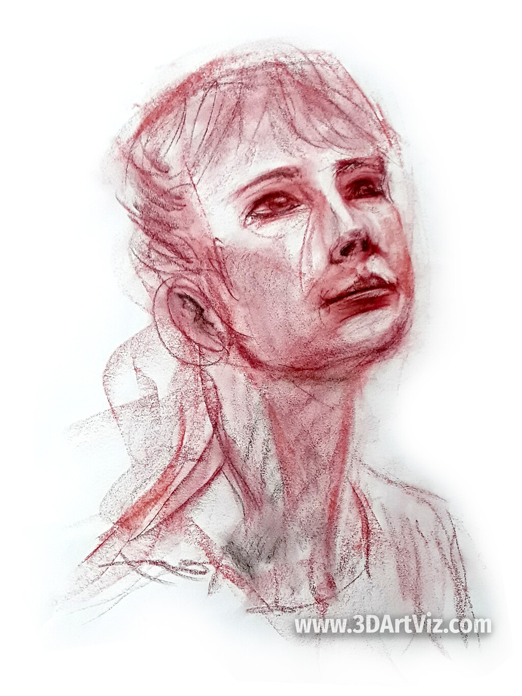 Draw chalk techniques applied to a live portrait study. 20 min. Berlin, 2019.